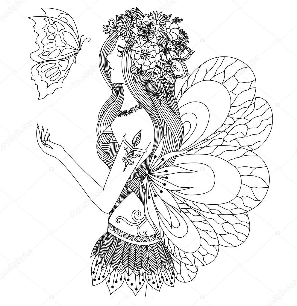 Chica bonita hada volando diseño de mariposa para colorear libro ...