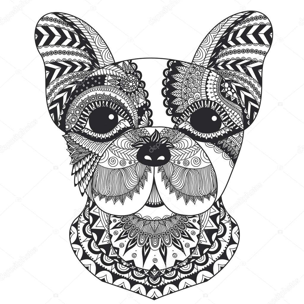 Franse Bulldog Zentangle Gestyled Met Strakke Lijnen Voor Het Boek