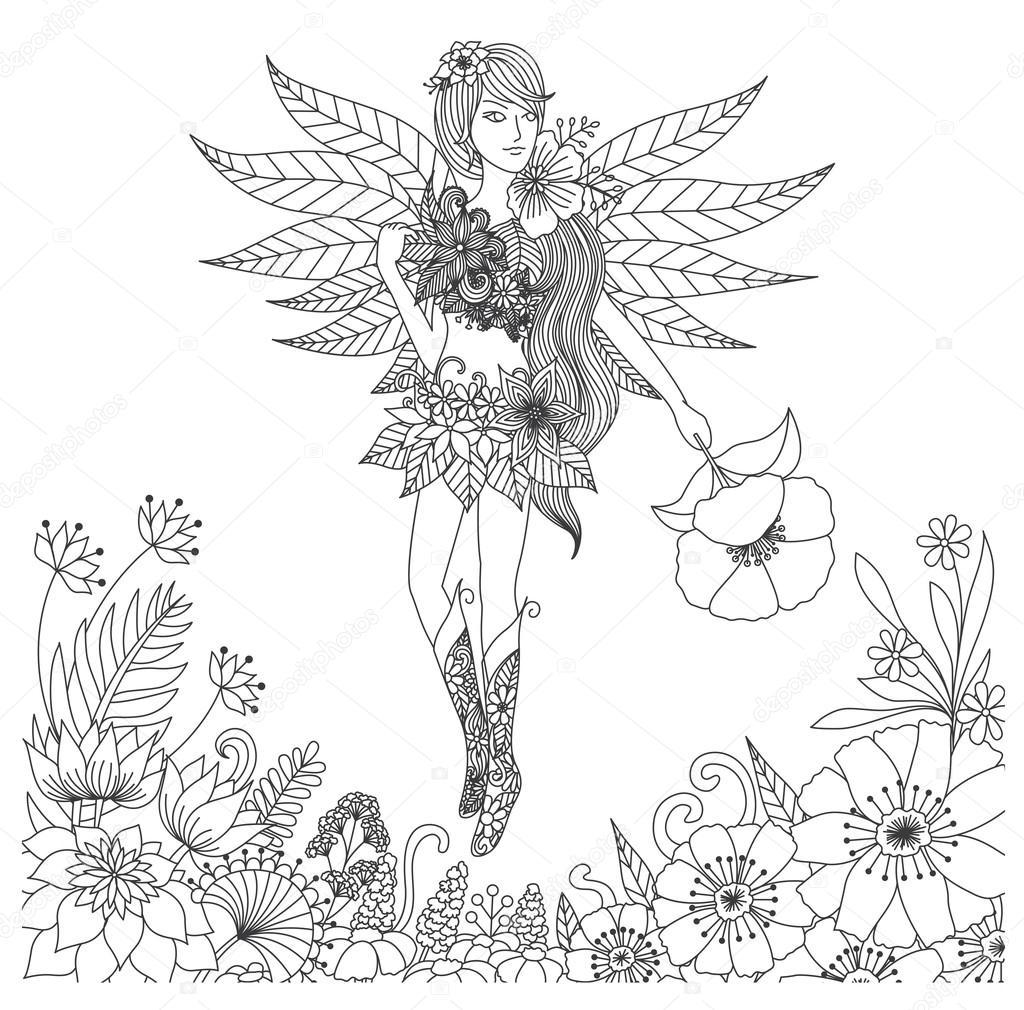 Hadas dibujado mano del vuelo en tierra de flores para colorear ...