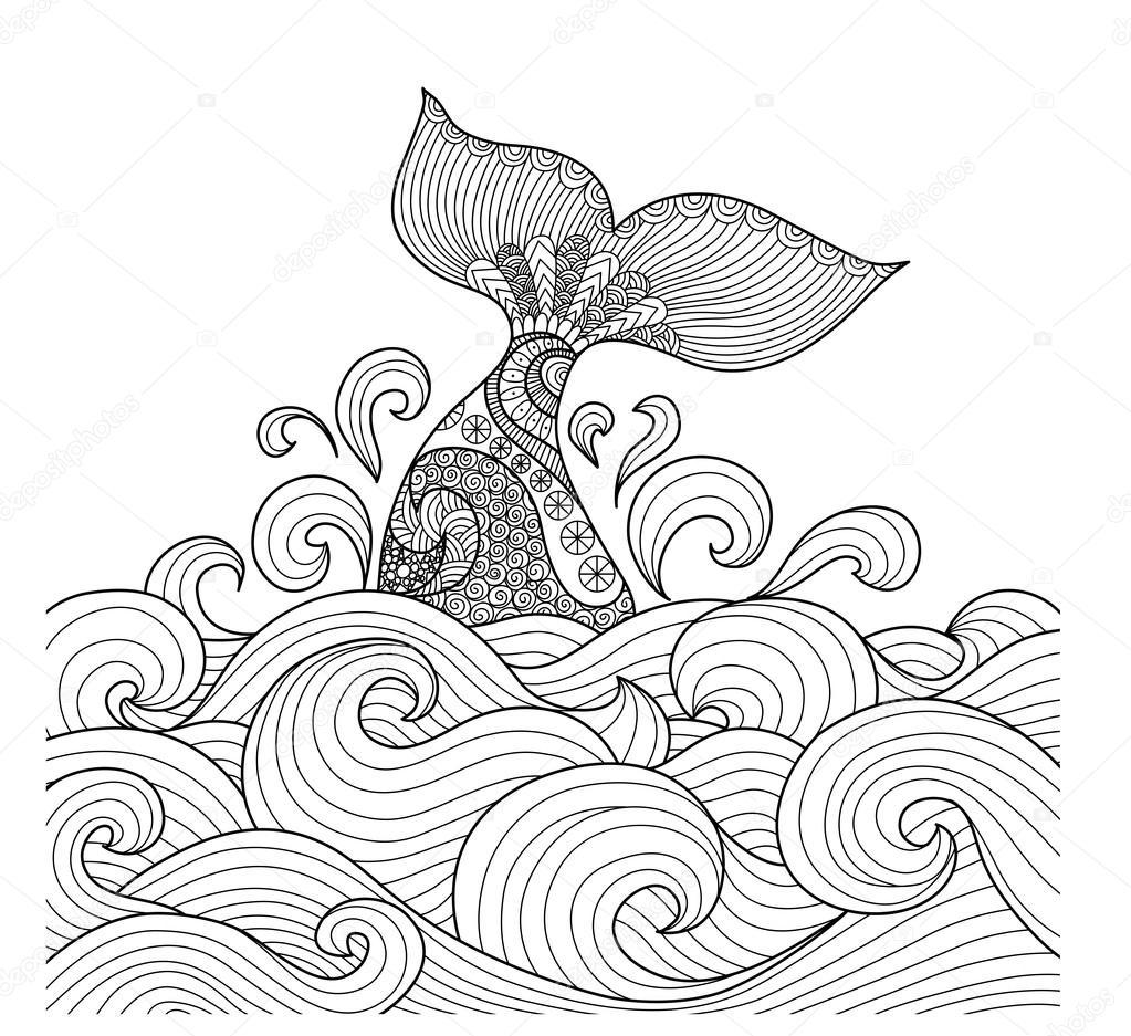 Cola de ballena en el arte de línea océano ondulado diseño de libro ...