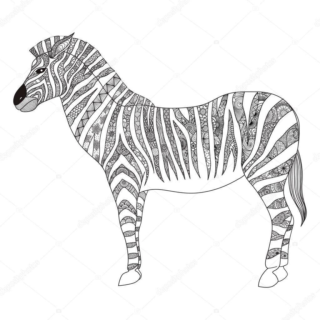 Zebra shirt design - Zebra Zentangle Stilizzato Per T Shirt Design Segno Poster Disegni Da Colorare Per Adulti Ed Elemento Vettoriale
