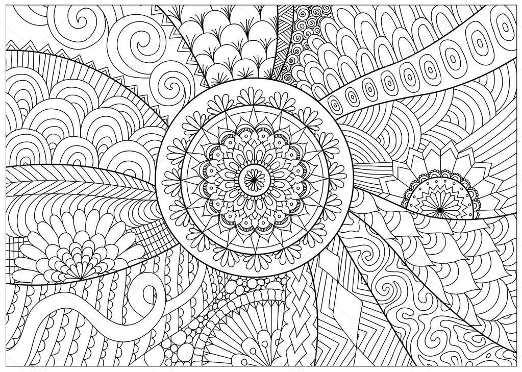 Flores y mandalas línea de arte para colorear libro para adultos ...