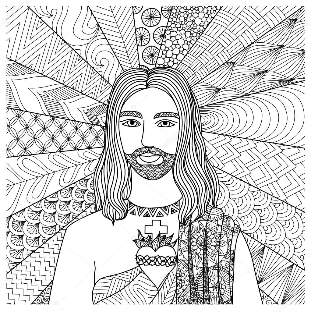 Zentangle estilizado de Jesucristo para colorear libro, T - Shirt ...