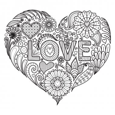 Heart on flowers for coloring books for adult , cards, T- Shirt graphic, tattoo and other decorations.