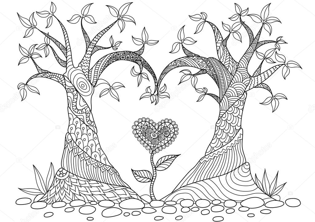 Kalp şekli Satır Sanat Tasarım Boyama Kitabı Için Soyut Ağaçlar