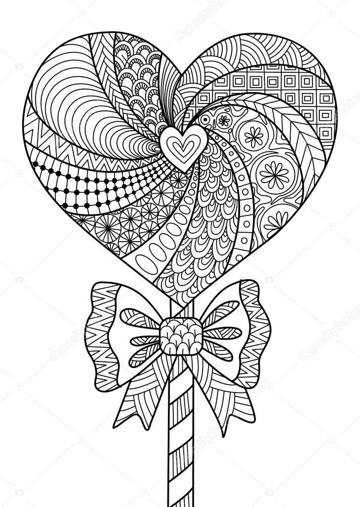 Diseño de arte de línea de piruleta corazón — Vector de stock ...