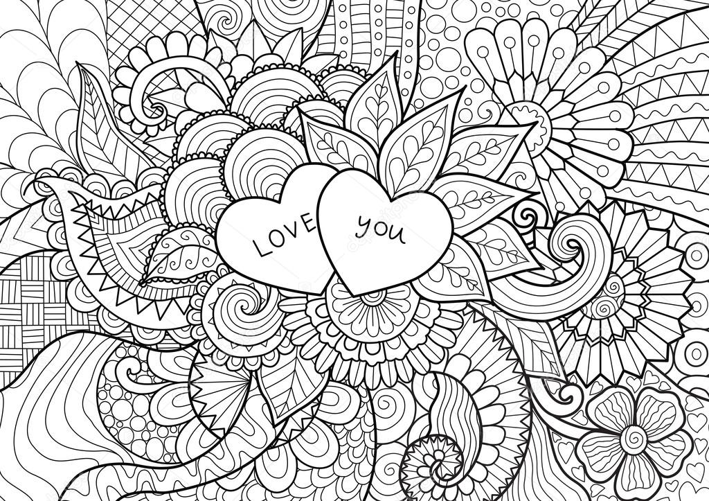 Dos corazones de flores para colorear libros para adultos o día de ...