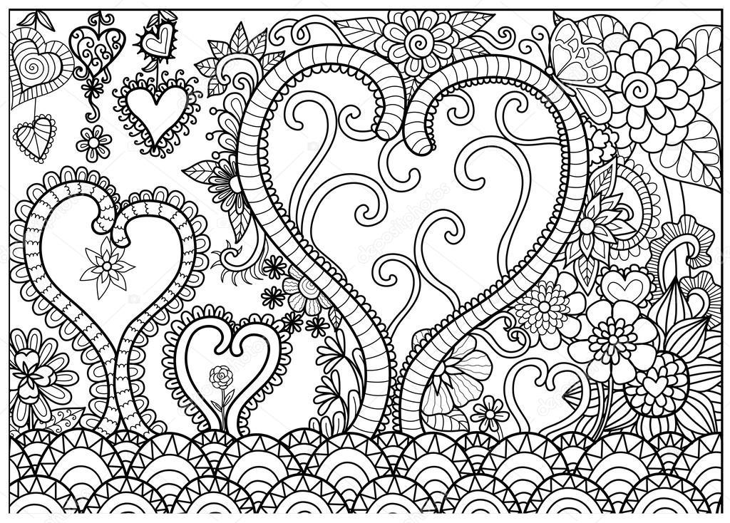 Kalp Orman çizgi Resimleri Boyama Kitabı Yetişkin Ve Kartları Için