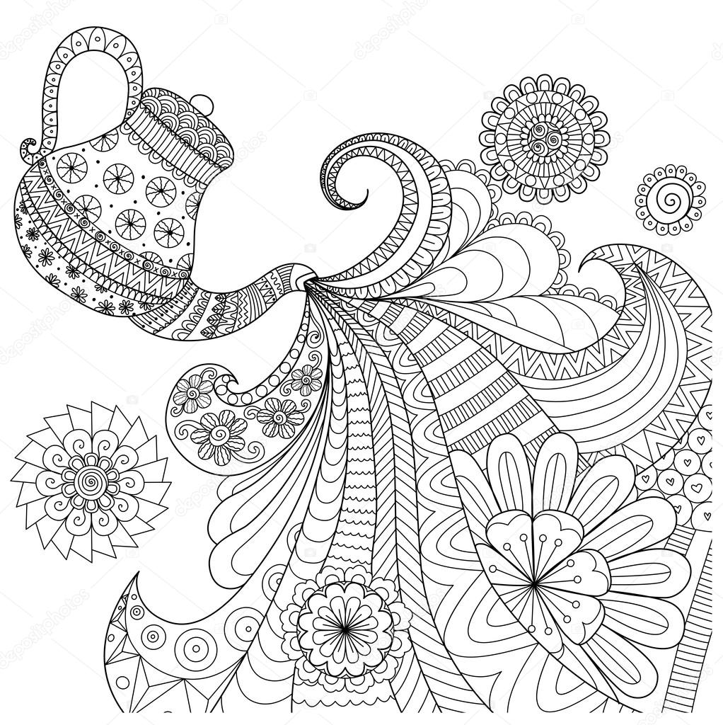 line art design of teapot pouring tea for coloring book for