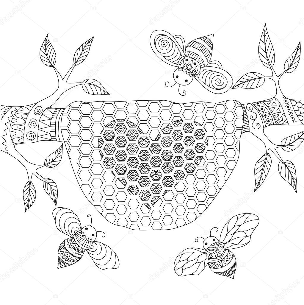 Diseño de arte de la línea de abejas volando alrededor de la colmena ...