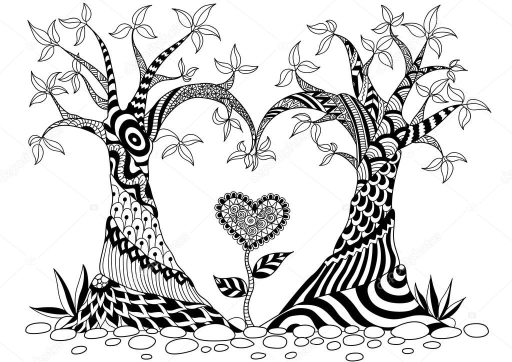 Abstract trees in heart shape line art design for coloring book