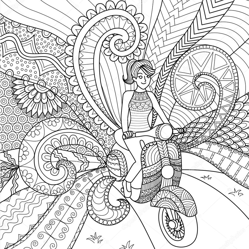 The coloring book clean - Girl Driving Scooter Clean Lines Doodle Design For Coloring Book For Adult Stock Vector