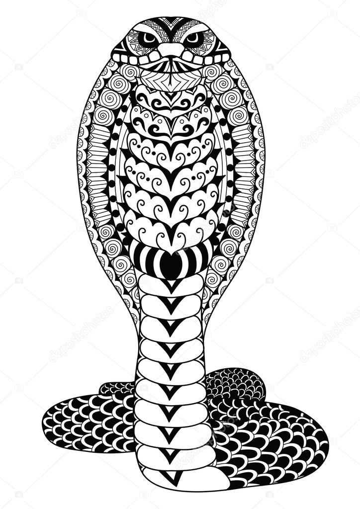 strakke lijnen doodle ontwerp cobra slang voor