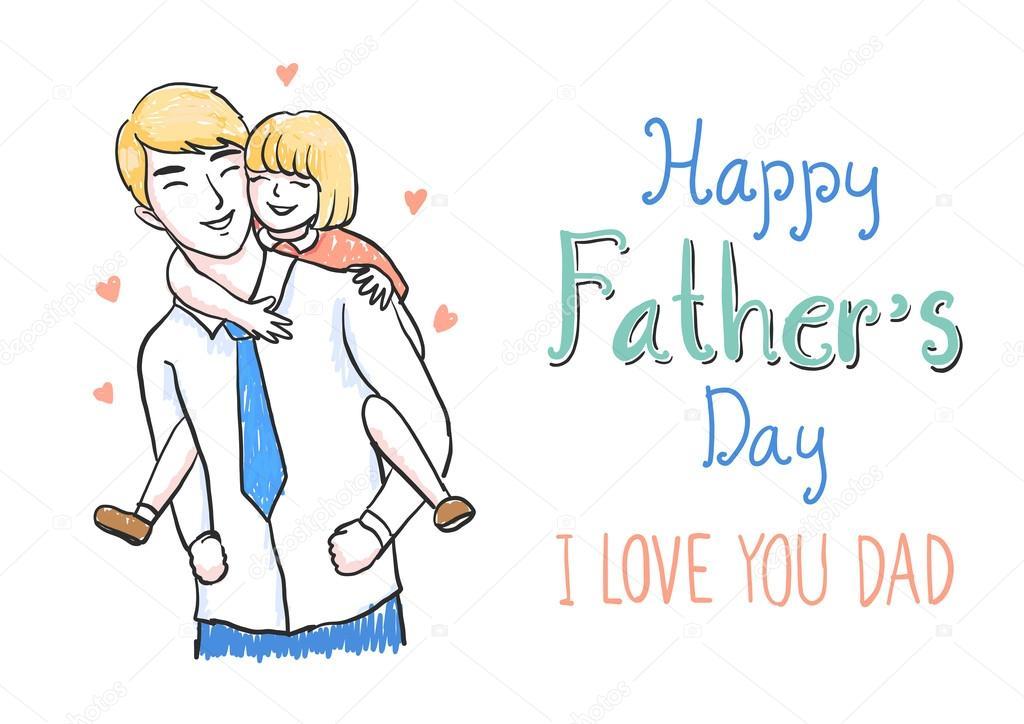 Imagenes Una Hija Para Su Padre Mano Dibujada Padre Con Hija En