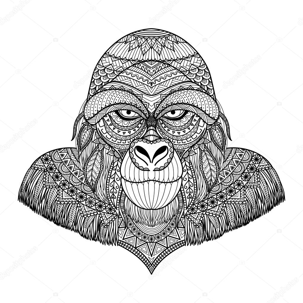 Clean Lines Doodle Art Design Of Gorilla For Adult Coloring Book Anti Stress
