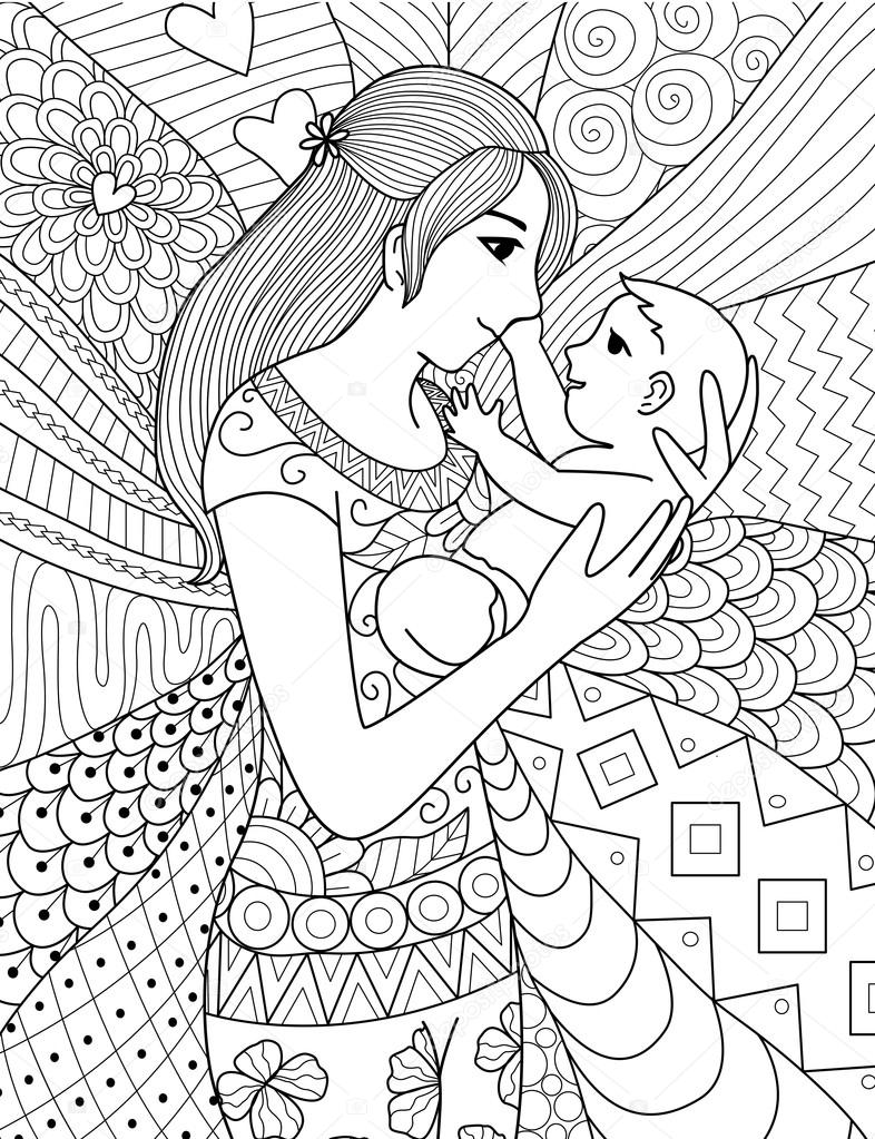 Mother Holding Her Baby Clean Line Doodle Art Design For Coloring