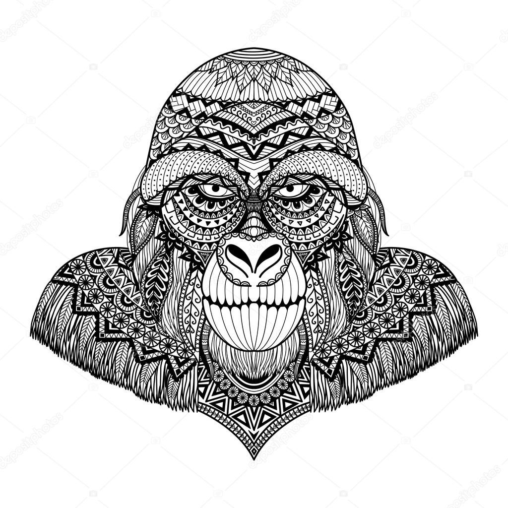 Clean lines doodle art design of gorilla, for adult coloring book, T ...