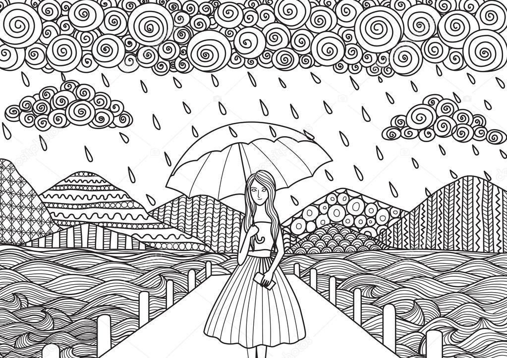 Güzel Kız Yağmur Yağıyor Iken Yetişkin Için Doodle Sanat Tasarım