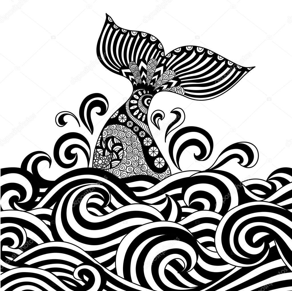 Coloring book whale - Whale Tail In The Wavy Ocean Line Art Design For Coloring Book Fro Adult Sign