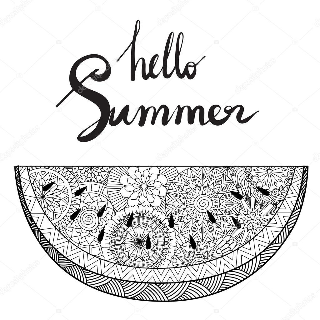 Zendoodle de sandía con verano de mano Letras Hola diseño de tarjeta ...