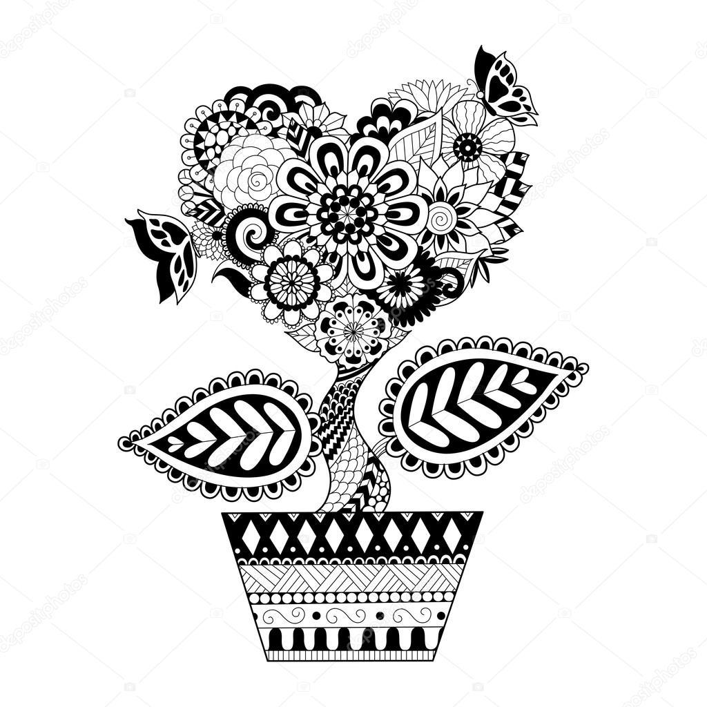 Coloriage Fleur Pot.Fleurs En Forme De Coeur Sur Un Dessin Au Trait Pot Design Pour