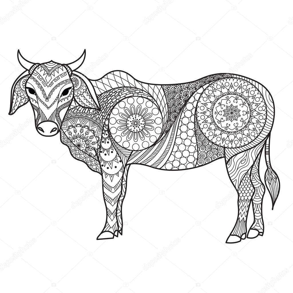 Kleurplaten Voor Volwassenen Koeien.Tekening Zendoodle Van Koe Voor De Kleurplaat Pagina Shirt Design