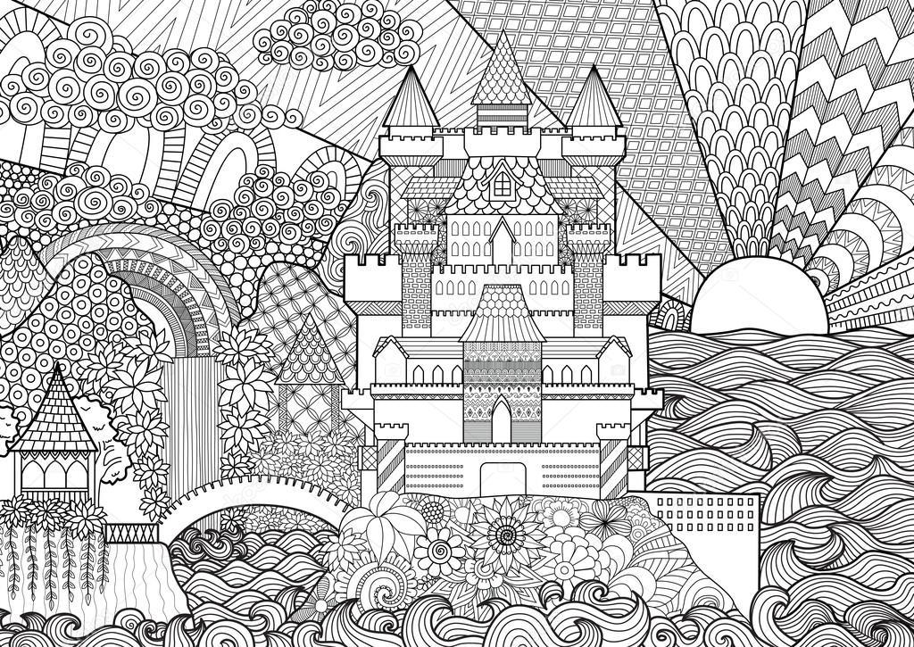 背景、大人のぬりえデザイン要素に Zendoodle 城の風景です。株式ベクトル