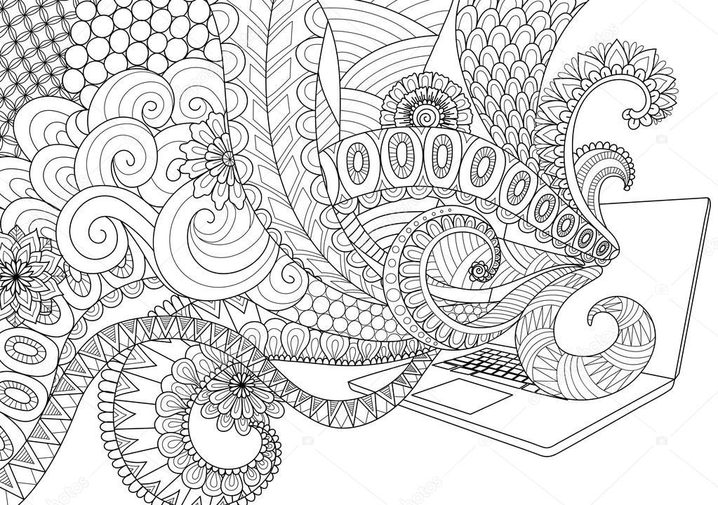 Desenho de teclado de notebook para imprimir | Doodle diseño ...