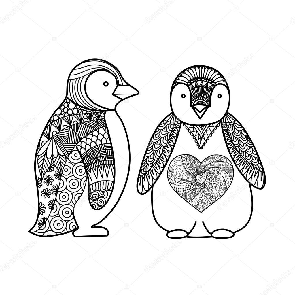 Dos pingüinos línea diseño de arte para colorear libro para adultos ...