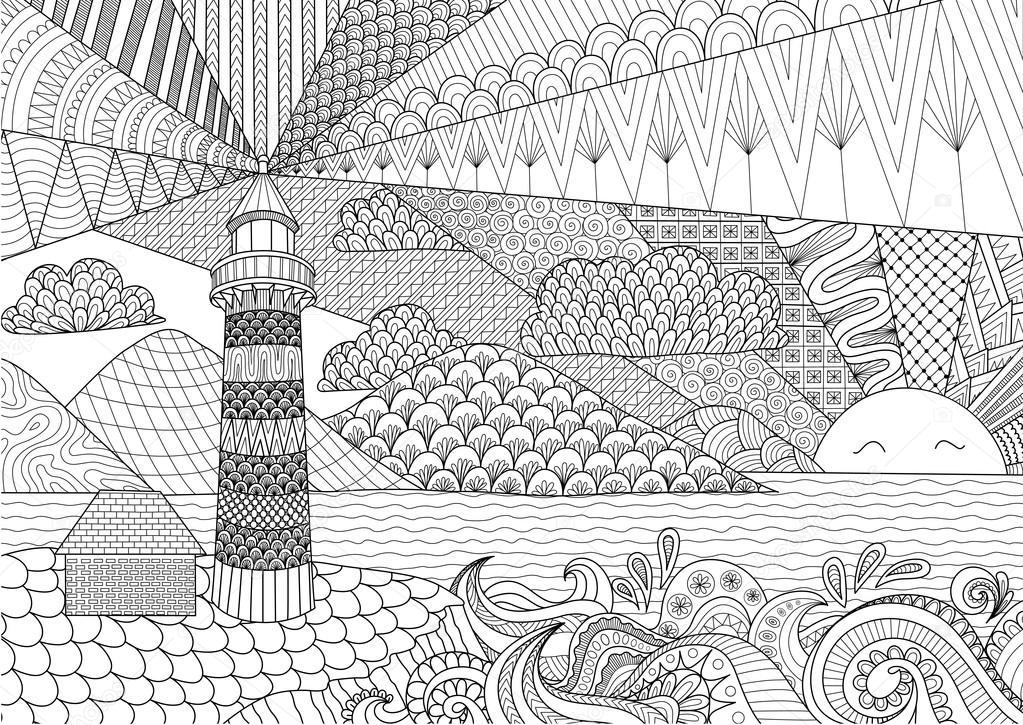 Coloriage Anti Stress A Colorier En Ligne.Paysage Marin Ligne Art Design Pour Coloriages Pour Adulte Anti