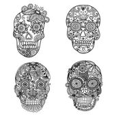 Photo Lines art design of unique floral skulls for adult coloring pages,tattoo, design element for Halloween cards or invitations - Stock vector