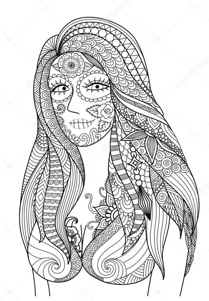 Doodle diseño de chica sexy vestido para fiesta de Halloween, diseño ...