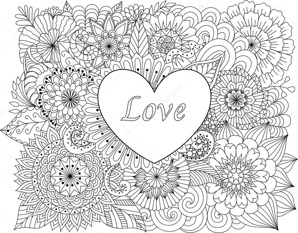 hart op bloemen voor de kleurplaat boeken voor volwassene