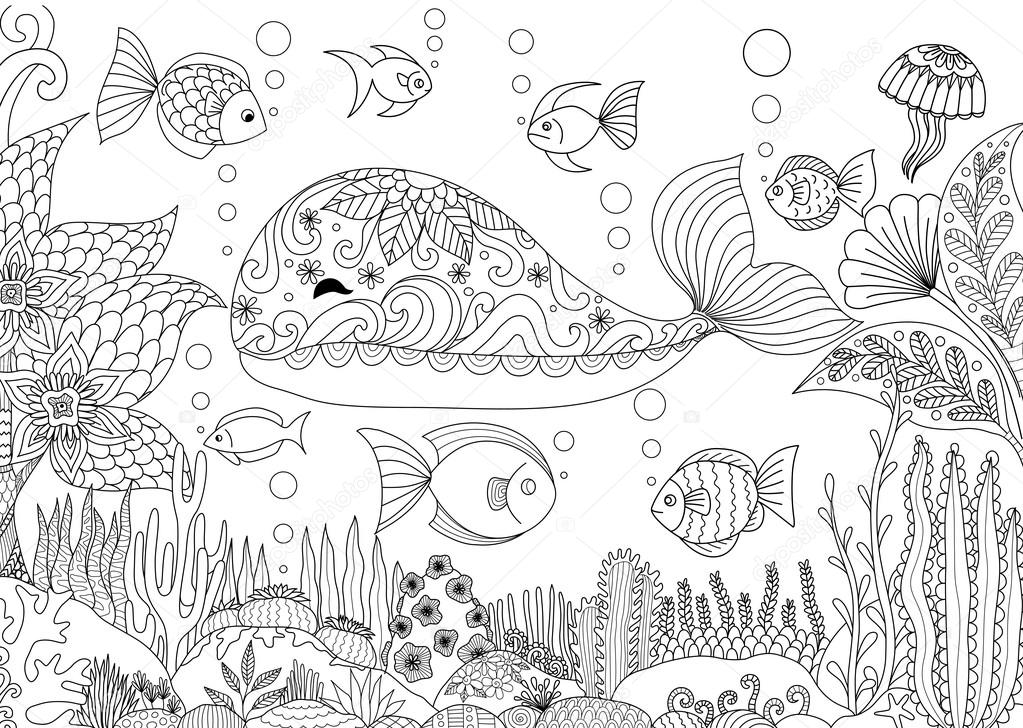 大人の塗り絵 株式ベクトルの美しいサンゴの海の下で小さなクジラの