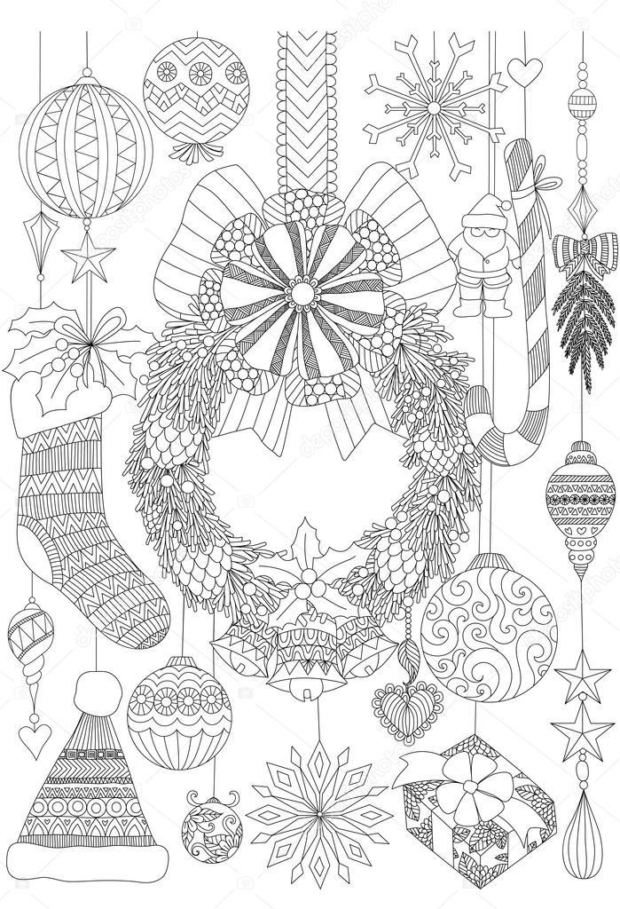 Garabatos sobre Navidad telas decorativas para adulto para colorear ...