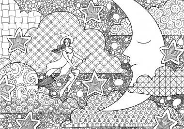 Pretty witch flying through sleeping crescent at night,