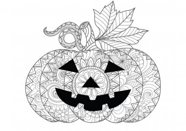Doodle design of Halloween pumpkin for Halloween card invitations and adult coloring book pages for anti stress