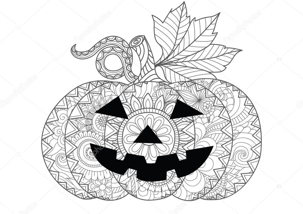 Doodle Design des Halloween-Kürbis für Halloween Karte Einladungen ...