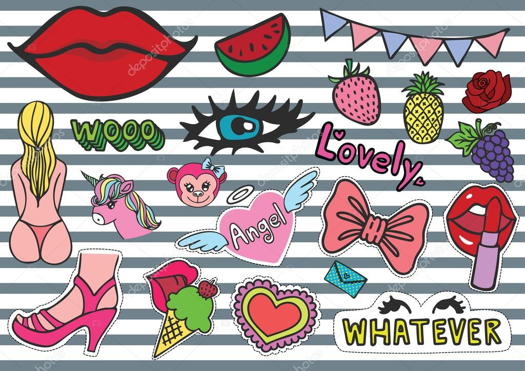 Hand drawn colorful T shirt patches sexy chick stuffs including ice cream, bikini, eyelash, red lips, whatever eyes roll, female monkey, purse, fruits, party confetti,unicorn and so on - Stock Vector