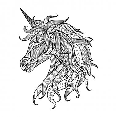 Drawing unicorn zentangle style for coloring book, tattoo, shirt design, logo,  sign stock vector