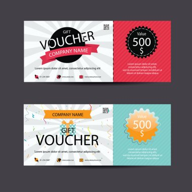 Voucher, Gift certificate, Coupon template, vector clip art vector