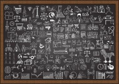 Big set of business situation doodles on chalkboard