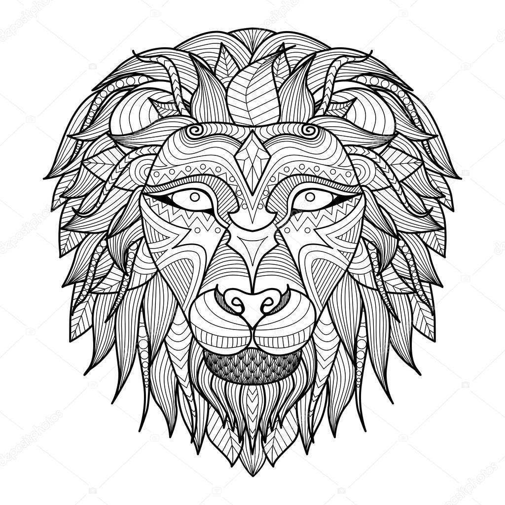 Étnica con motivos cabeza de León sobre fondo blanco / Africa ...