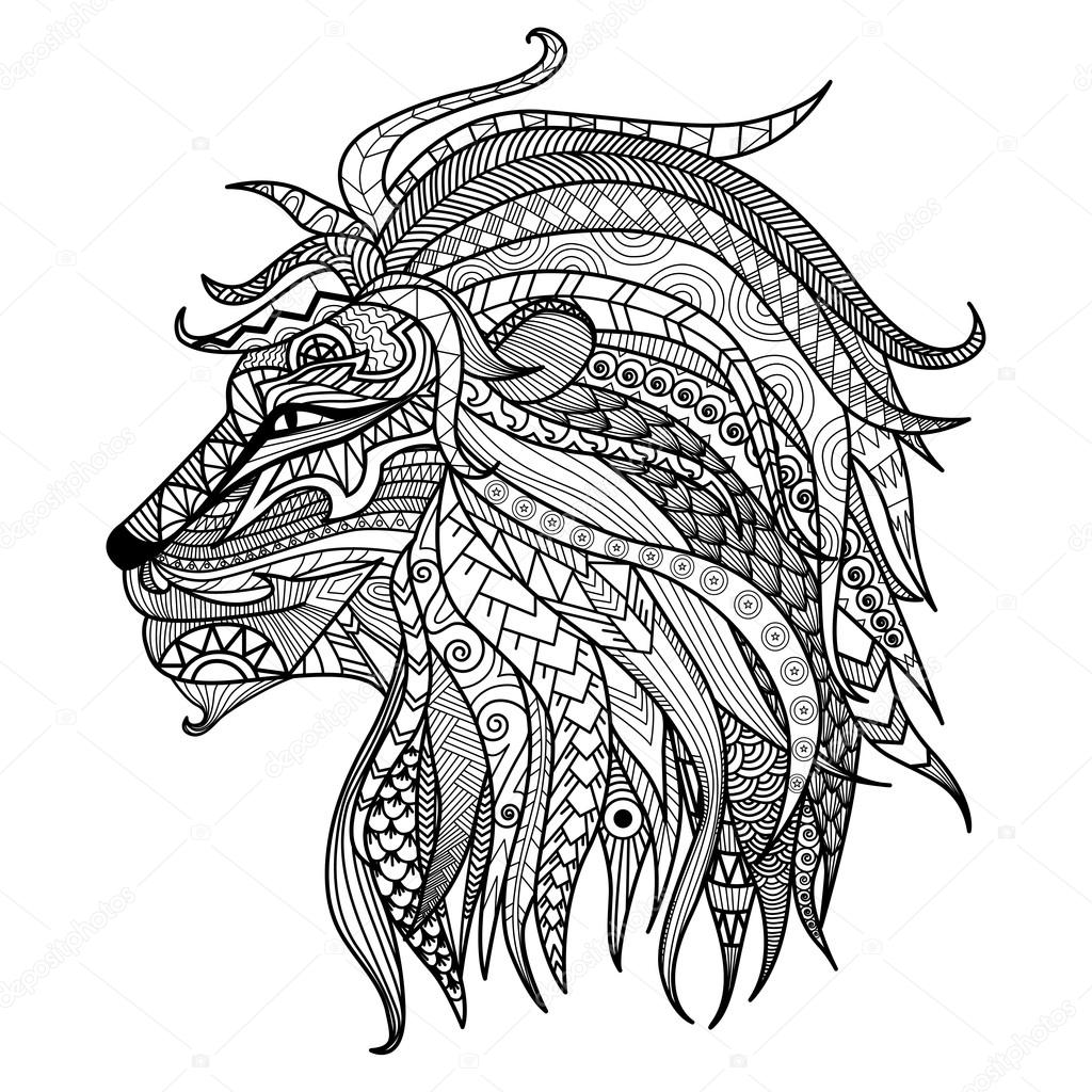 Hand drawn lion coloring page isolated on white background