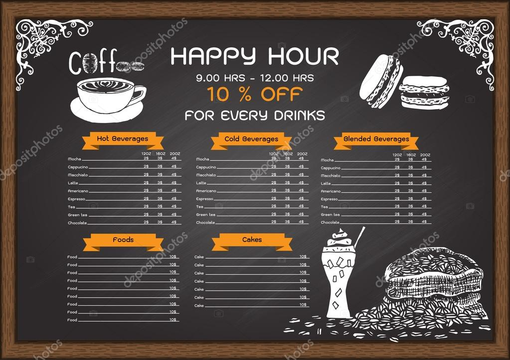 menu on chalkboard design template stock vector somjaicindy