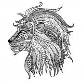 Hand drawn lion coloring  page