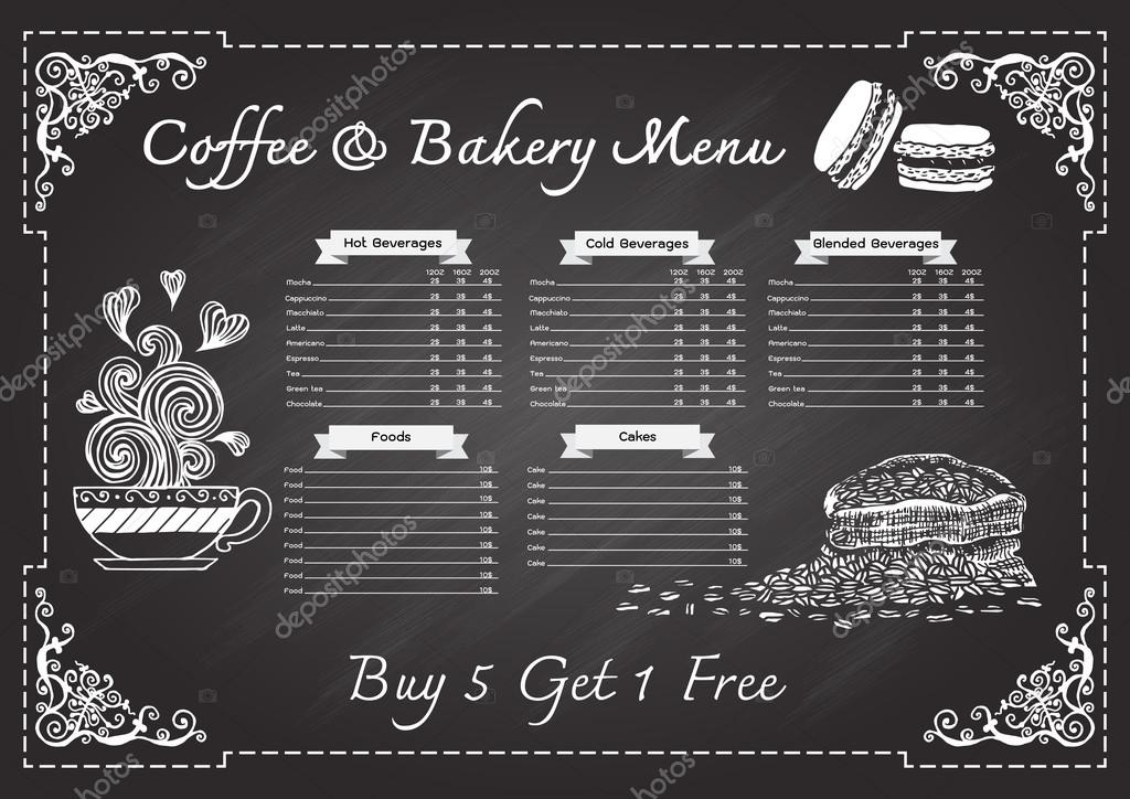 Coffeefood Drink And Bakery Hand Drawn Menu On Chalkboard Design Template With Ornamental Scroll Wooden Frame Vector By Somjaicindygmail