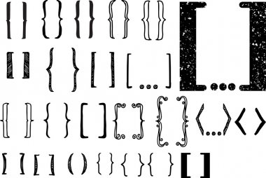 24 different hand drawn brackets. Bracket icons set