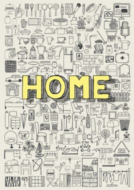 Big set of hand drawn home appliance icons. Home doodles