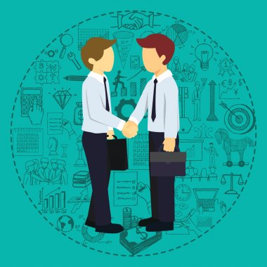 Successful business partners shaking hands with business doodles background.